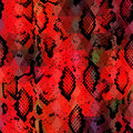 Snake skin texture with colored rhombus. Geometric background. Seamless pattern black red background, colorful psychedelic geomet