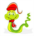 Snake symbol of 2013 year with hat Royalty Free Stock Photography