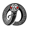 Snake tattoo angry round isolated Stock Image