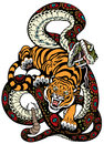 Snake and tiger fighting tattoo illustration Royalty Free Stock Photo
