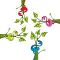 Snake and tree drawing vector Stock Images