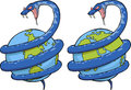 Snake in the world wound around globe Stock Image