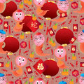Snake year zodiac chinese seamless pattern illustration design drawing cute red danger background graphic element Stock Photo