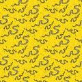 Snake on a yellow background seamless pattern
