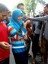 Snakes citizens interact with the in the environmental campaign in the city of solo central java indonesia Stock Photography