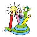 Snakes and crayons hadi draws sun illustration for the children Royalty Free Stock Images