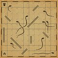Ancient looking snakes and ladders game board