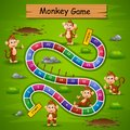 Snakes and ladders game monkey theme