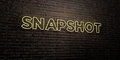 SNAPSHOT -Realistic Neon Sign on Brick Wall background - 3D rendered royalty free stock image