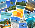 Snapshots of tropical destinations collage travel Royalty Free Stock Photo