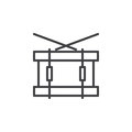 Snare drum line icon, outline vector sign, linear style pictogram isolated on white.