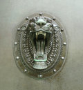 Snarling lion head door handles large metal roaring in liverpool uk Royalty Free Stock Images