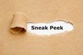 Sneak Peek Torn Paper Concept Royalty Free Stock Photo