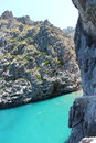 Sneak preview on secret beach the is situated at cala de sa calobra majorca spain the access is made through an tunnel Stock Photography