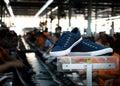 Sneaker shoe navy blue in footwear industry Royalty Free Stock Images