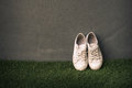 Sneaker shoes on grey wall still life vintage Royalty Free Stock Photo
