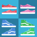 Sneaker shoes icon. Flat vector set