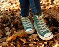 Sneakers autumn casual clothing coloured and jeans Stock Photos