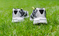 Sneakers on grass white the green Stock Image