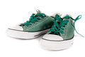Sneakers pair of green isolated on white background Royalty Free Stock Photography