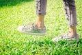 The Sneakers in the park, people often worn in comfort.