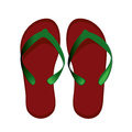 Sneakers red women s flip flops for the beach Stock Photos