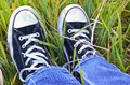 Sneakers on weeds Stock Images