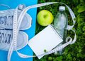 Sneakers on yoga mat, bottle of water, apple and notepad Royalty Free Stock Photo
