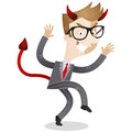 Sneaking businessman with devils horns and tail Royalty Free Stock Images