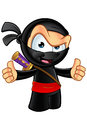 Sneaky looking ninja character an illustration of a cartoon Stock Images
