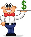Sneaky waiter cartoon of a representing an expensive restaurant Stock Photography