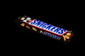 Snickers candy bar zagreb croatia january chocolate on black background product shot Royalty Free Stock Photos