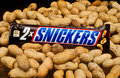 Snickers candy bar zagreb croatia january chocolate with peanuts product shot Royalty Free Stock Photography