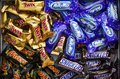 Snickers, Mars, Milky Way and Twix minis candy bars in the box Royalty Free Stock Photo