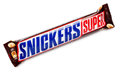Snickers Super chocolate bar isolated on white with clipping path