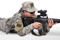 Sniper with assault rifle on white background Royalty Free Stock Image