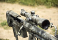 Sniper rifle barrel and telescope picture taken on a show of arms Stock Photo