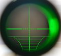 Sniper scope snipe telescope close up with green light Stock Images