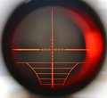 Sniper scope snipe telescope close up with red light Stock Photos