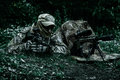 Sniper and spotter of Green Berets Royalty Free Stock Photo