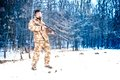 Sniper with weapon ready for combat, special forces army ranger preparing for war Royalty Free Stock Photo