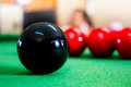 Snooker balls on green pool table Royalty Free Stock Image