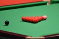 Snooker balls on a green table Royalty Free Stock Image