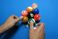 Snooker balls play placement in formation for the match Royalty Free Stock Photography