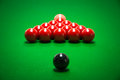 Snooker balls set on a green table Stock Images
