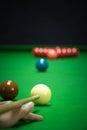 Snooker balls set on a green table Stock Photos
