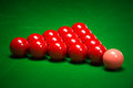 Snooker balls set on a green table Stock Photo