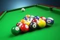 Snooker billiard pyramid on green table.