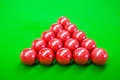 Snooker a photo of fifteen red ball on a green felt Royalty Free Stock Photos