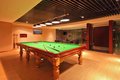 Snooker pool playing room the with table for Royalty Free Stock Image